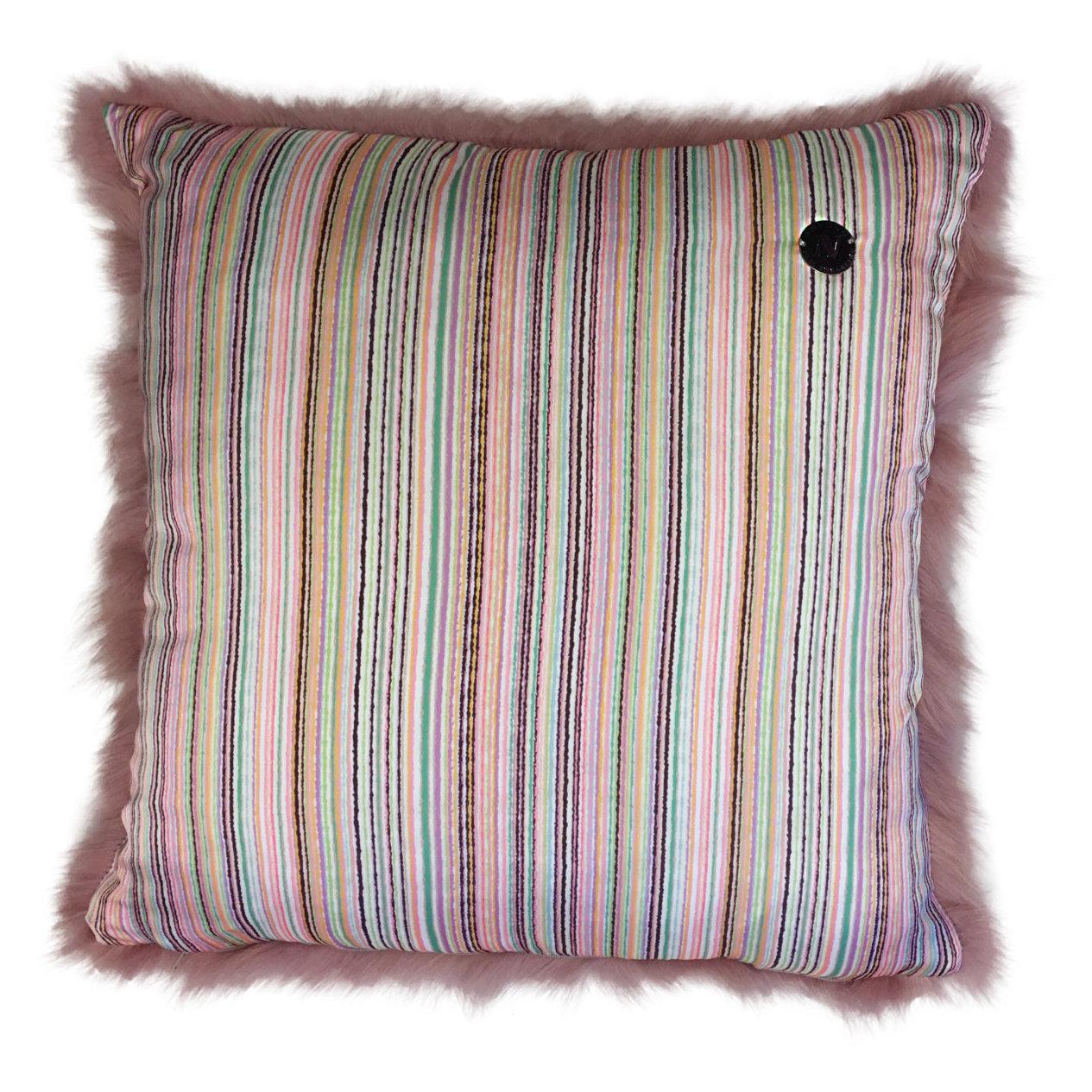 Shearling Pillow-D.Pink-50x50cm-SPDPINS3145050-arka - ANVOGG FEEL SHEARLING | ANVOGG