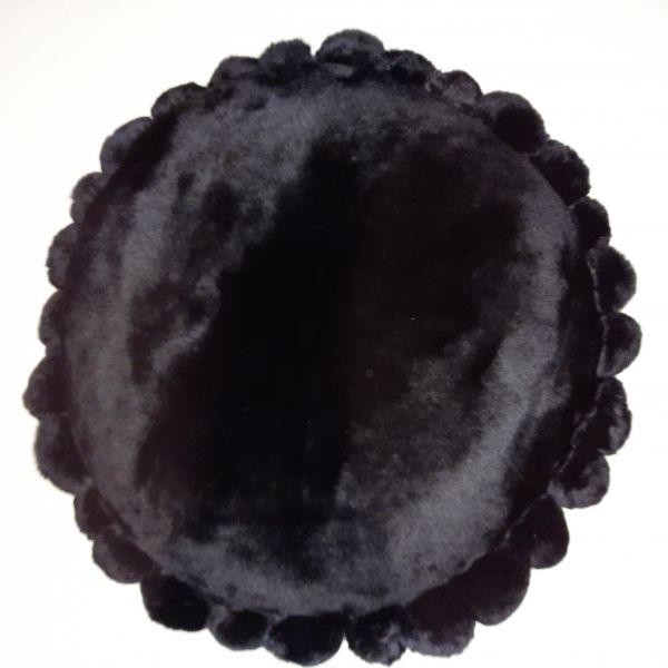 Shaearling Pillow - Black Ponpon Rex 45 Round SPBLAPONPBL45ROU (2) - ANVOGG FEEL SHEARLING | ANVOGG