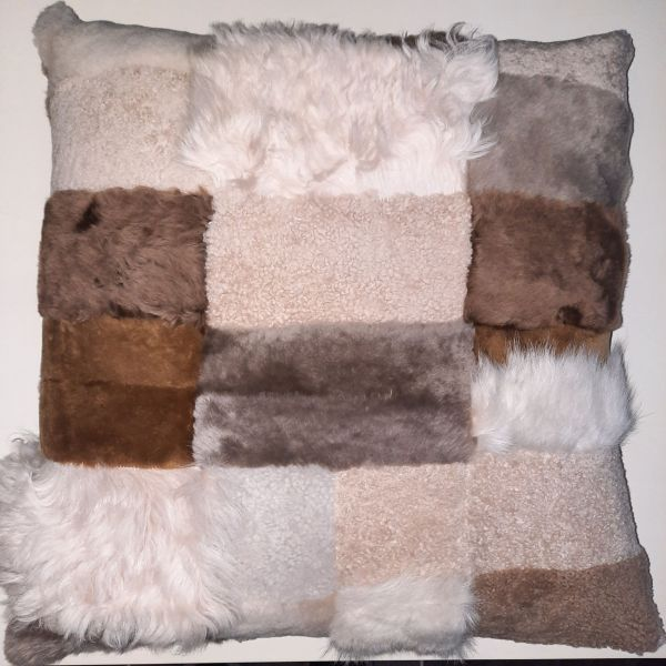 Shearling Pillow Apach NUDE Double-Sided 60x60 cm-(SPAPACHNUDNU6060) - ANVOGG FEEL SHEARLING | ANVOGG